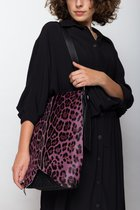 Medium crossbody bag Black dotted with pink ocelot cover