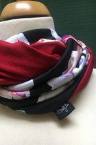 Women Loop Scarf SD42007FOB - flowers on black /red