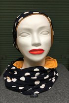 Women Beanies & Scarves SD7051DWDK - dark blue-white dotted knitted/yellow-ocher
