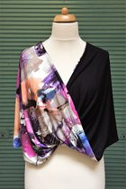 Shawl SD3009VCB - violet coloured-brindle/black