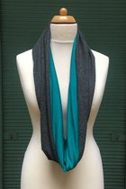 Women Loop Scarf SD41018GG- Gray and green /dark turquoise