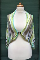 Shawl SD3030GTS - green-taupe-white striped/taupe
