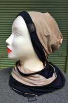 Women Beanies & Scarves SD6016SPB - Sparkle beige/dark blue