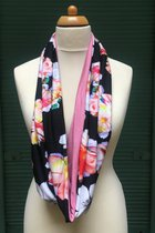 Women Loop Scarf SD42022FOB - flowers on black /pink
