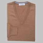 Gran Sasso - Slim fit Merino wool V-neck sweater caramel