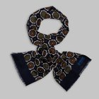 Petronius 1926 - Flower motif wool silk scarf blue/green/brown