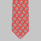 Drake's - Silk/Linen Chevronne Printed Tie red