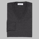 Gran Sasso - Regular fit Merino wool V-neck sweater charcoal