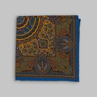 Petronius 1926 - Mandala motif pocket square blue/yellow/green