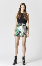 Metallic Floral Jacquard Mini Skirt MULTI