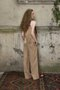 Lili trouser - Sand coloured satin pants