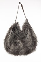 BUBBLE BAG Grey fake fur